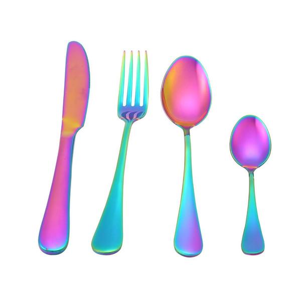 6Pcs/set Rainbow Tableware Stainless Steel cutlery set Knife Fork Scoops Dinnerware Set Dinner Set Kitchen Accessories