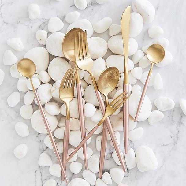 Korean Royal Pink Golden Tableware Cutlery Set Dinner Knife S poon Fork Sets 18/8 Stainless Steel Western Gold Dinnerware Set
