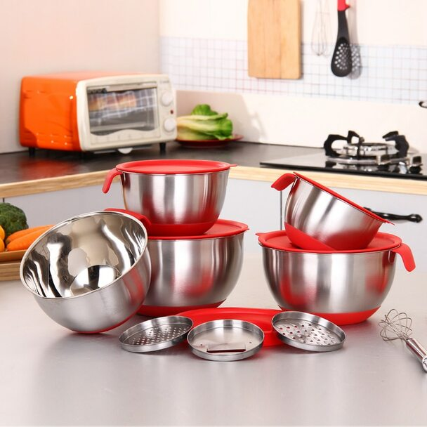Ingredients Standby Bowls Mixing Bowl Stainless Steel DIY Cake Bread Salad Mixer Kitchen Cooking Tool With a cover with a planer
