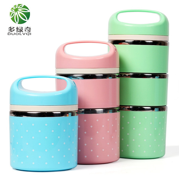 DUOLVQI Stainless Steel Portable Cute Mini Thermal Lunch Boxs For Kids Picnic Bento Box Leak-Proof  Container For Food Storage