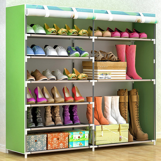 COSTWAY Non-woven Shoe Cabinets Double Row Shoes Rack Stand Shelf Shoes Organizer Living Room Bedroom Storage Furniture W0187