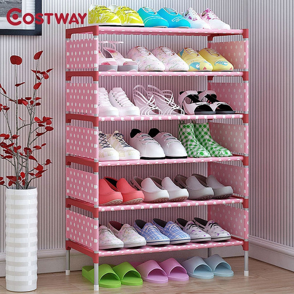 COSTWAY Non-woven 5 Tier Shoes Rack Shoe Cabinets Stand Shelf Shoes Organizer Living Room Bedroom Storage Furniture W0112
