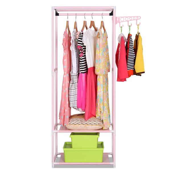 COSTWAY Simple Clothes Coat Rack Bedroom Floor Hanging Clothes Storage Shelves Balcony Multi-functional Drying Racks W0201