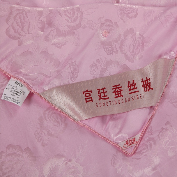 100% silk comforter/blanket/quilt/duvet for summer&winter king queen twin size handmade bedding white/pink color free shipping