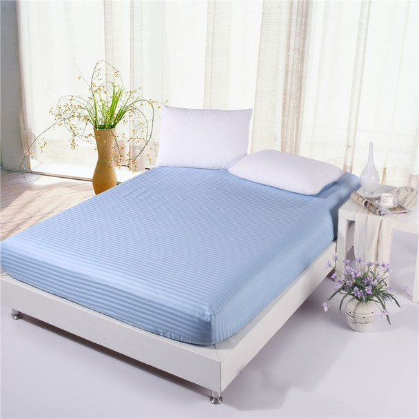 1pcs 100% Cotton Solid Color Fitted Sheet Stripe Mattress Cover Four Corners With Elastic Band Bed Sheet