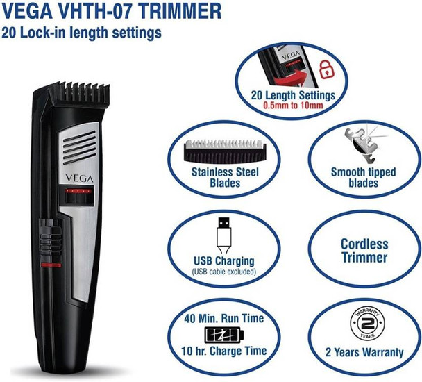 VEGA VHTH-07 T-Comfort Hair Trimmer for Men - 20 blade settings