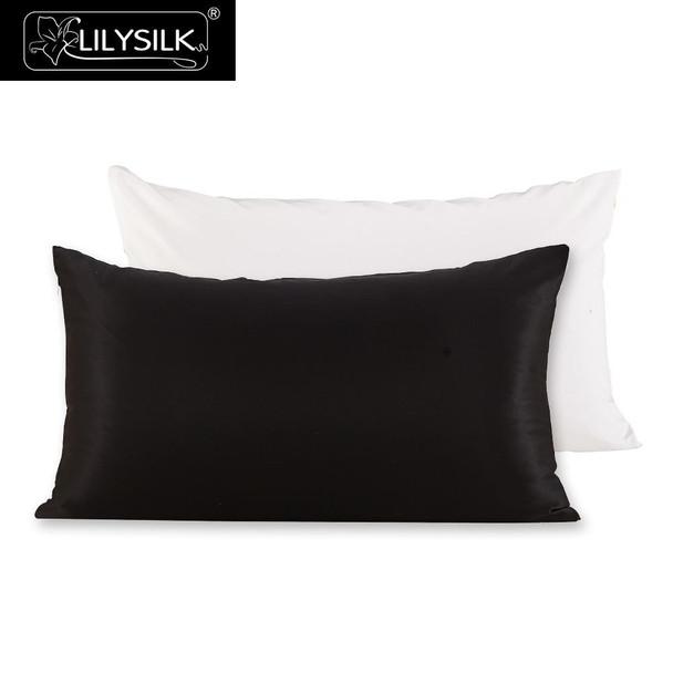 Lilysilk 100 Silk Cotton Pillowcase Hair Zipper Natural Mulberry Silk Pillow Cover 22 Momme Cotton Underside King Queen