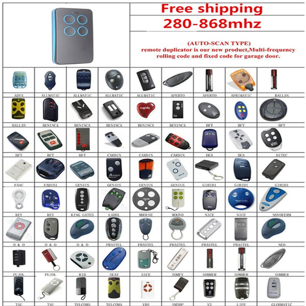 Electric Face to Face Copy Garage Door Opener Remote Control 4 Button 300-868Mhz Car Gate Transmitter Duplicator Rolling Code