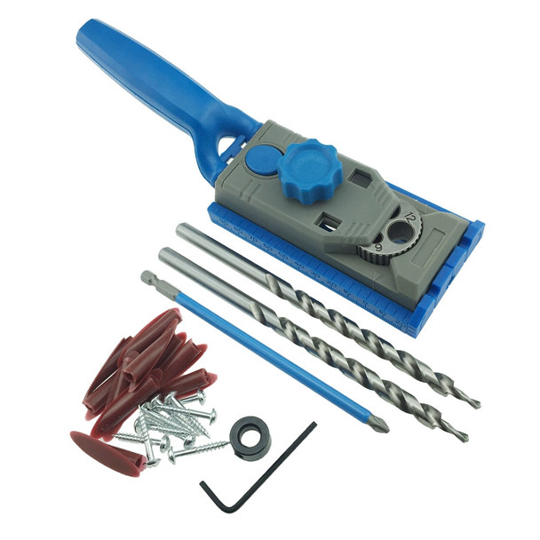Pocket Hole Jig System Drill Guide for Kreg Wood Doweling Joinery Screws Clamping Jig Woodworking Drilling + 2PC Drill Bit