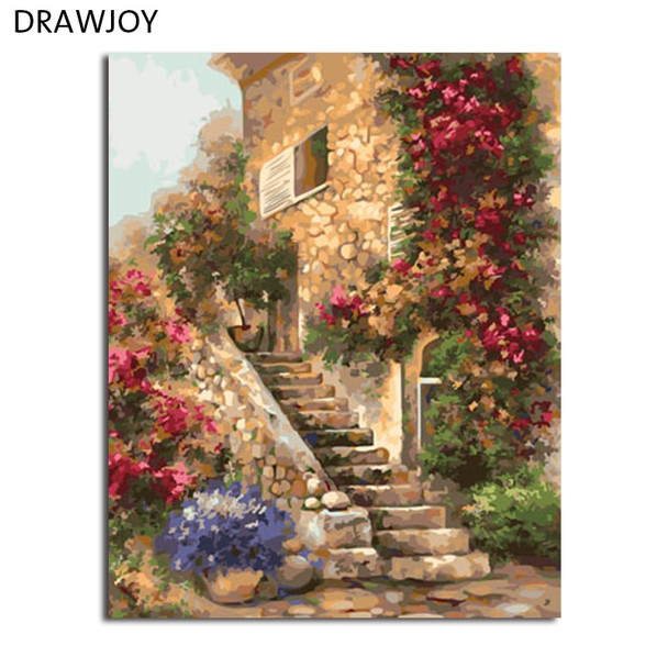 DRAWJOY Landscape Framed DIY Painting By Numbers Wall Art Acrylic Oil Canvas Paintings Home Decor For Living Room Wall