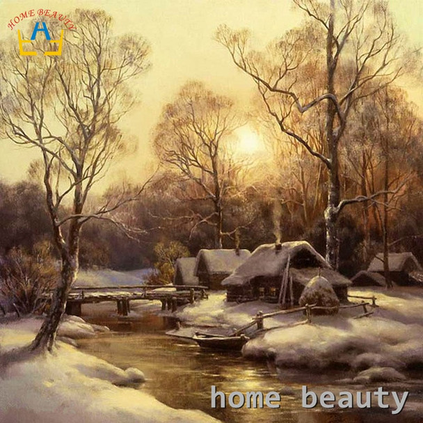 Diy oil painting by numbers snow river cabin wall decor canvas picture for living room Modular coloring paint by number Y123