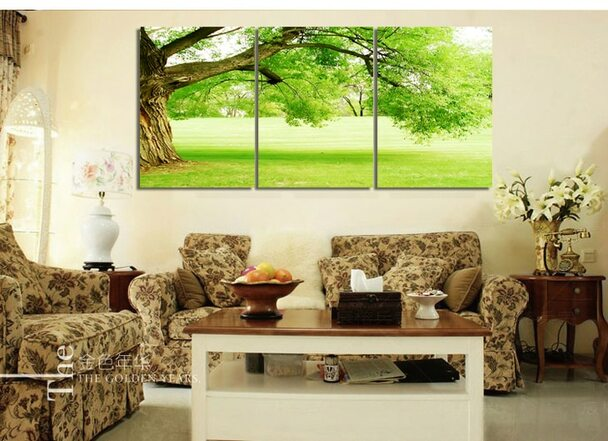 Green Tree Nature Landscape 3 Pics Modern Canvas Panting Home Decor Picture On Wall For Living Room FJ002