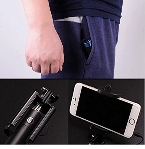 High Quality Mini Selfie Stick with Aux Cable - Black - Pocket Selfie Stick