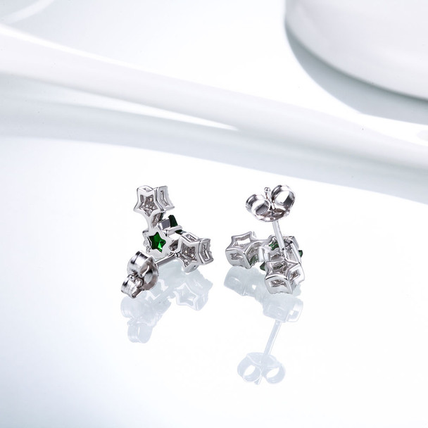 DOUBLE-R Star Earrings For Girls 925 Sterling Silver Stud Earring With Created Emerald Gemstone Jewelry