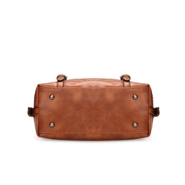 Brown Vintage Fashion Casual Tote Boston Bags Handbags Women Famous Brands Luxury Pu Leather Women Bag Female Shoulder Bags 2018