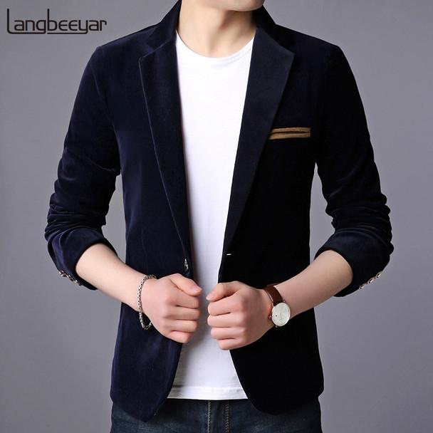 2018 New Fashion Brand Blazer Jacket Men Korean Velvet Slim Fit Suits Coat Party Navy Single Button Party Casual Men Clothing