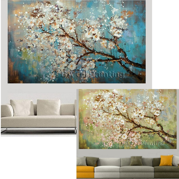 MYT Big 100% Handpainted Flowers Tree Abstract Morden Oil Painting On Canvas Wall Art Wall Pictures For Live Room Home Decor
