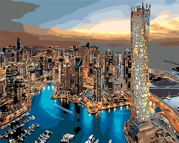 UAE Dubai landscape building living room office decor hand paint oil Painting pictures By Numbers Drawing by number DIY poster