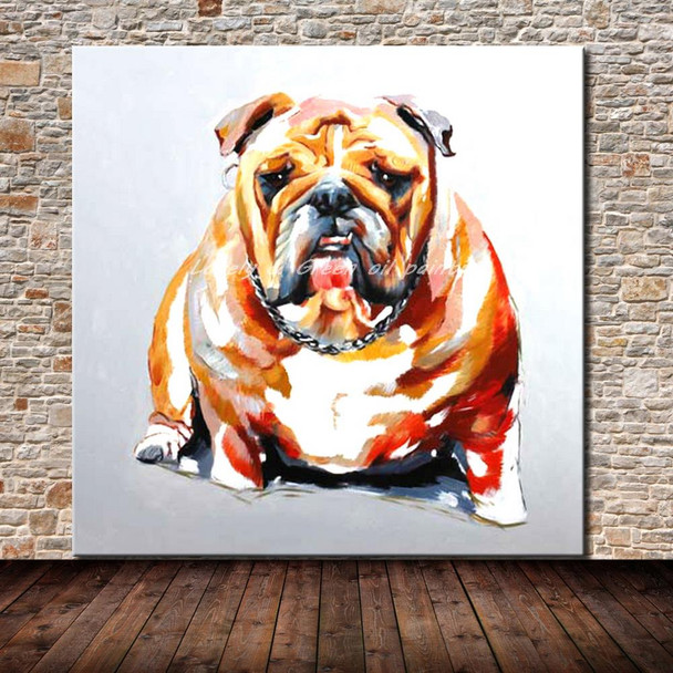 100% Handmade Decor Works Abstract Animal Modern Wall Art Pictures Lovely Dog Oil Painting On Canvas For Wall Decor Artworks