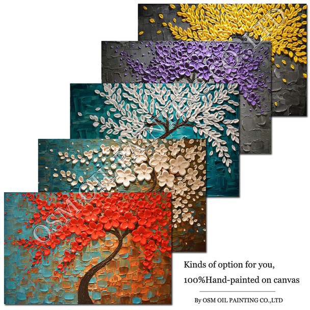 Hand-painted High Quality Unframed  Kinds of Tree Oil Painting on Canvas Abstract Thick Leaf Oil Painting Knife Canvas Painting