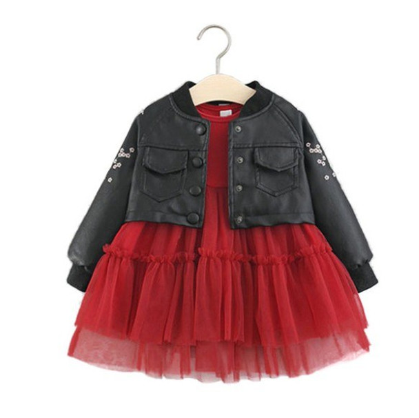 0c73f9539b12 Fashion Baby Girl Dress Spring Autumn Baby Dress for Girls and PU ...
