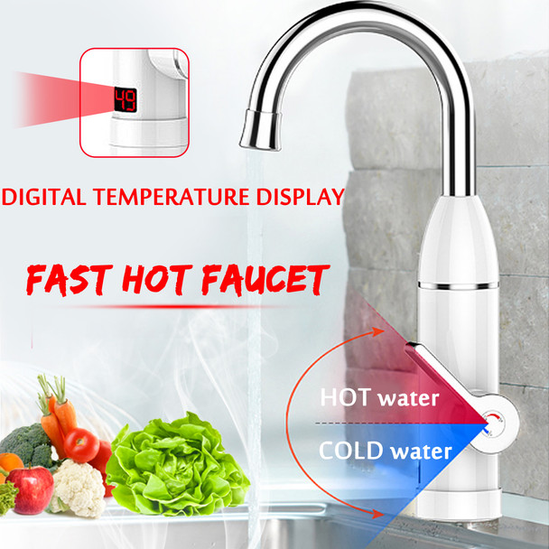220V 3000W Instant Electric Tankless Cold/Hot Water Heater Shower System Tap Faucet Digital Display Mixer Kitchen Bathroom Tap