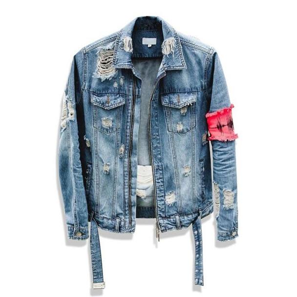 2018 New Men Hip-Hop forum Wearing patchwork Denim jacket coat Men jacket Man Man Hip Hop Tape Hole loose Coat The Beggar Damage