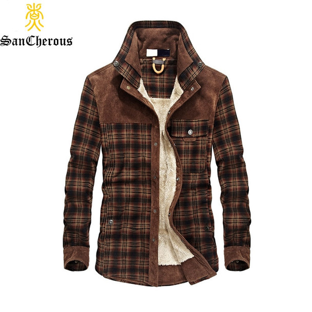 2018 Dropshipping Men 100% Cotton Liner Casual Winter Jacke Men Outerwear Plaid Thick Wool Liner Autumn Winter Fleece Jacket