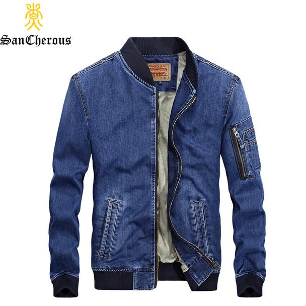 2018 New Arrival Denim Spring Autumn Winter Jacket Men Fleece Jeans Jacket 2 Colors Outerwear Windproof Coat