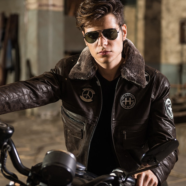 2016 Men's real leather jacket pigskin Genuine Leather jacket men leather coat air force flight jackets padding cotton warm