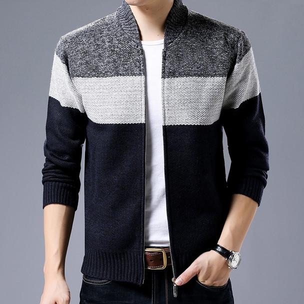 2018 New Fashion Brand Clothing Jacket Men Casual Mandarin Collar Mens Coat Gradient knitting Zippers Mens Jackets And Coats