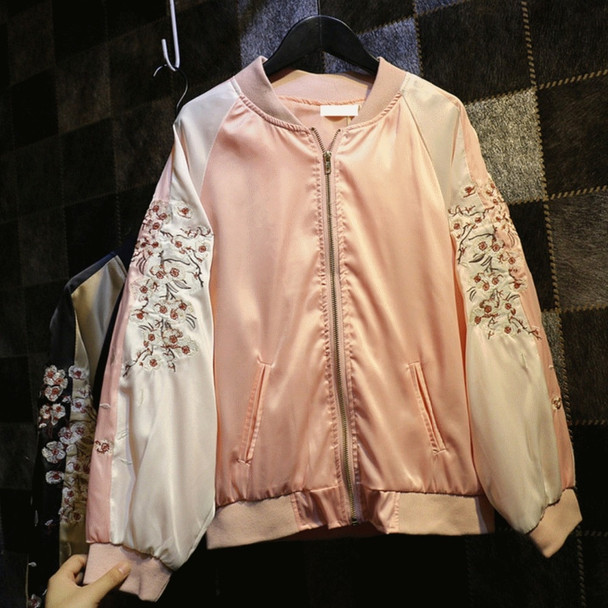New  Bomber Jacket Women  Embroidery  Slim Abrigo Mujer  Women Basic Coats 7CT016