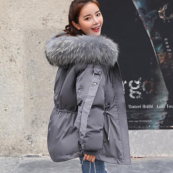 FTLZZ 2018 Women Winter Short Jacket Mujer Hooded Parkas Winter Coat Women Loose Parka Fur Collar Cotton Padded Jackets