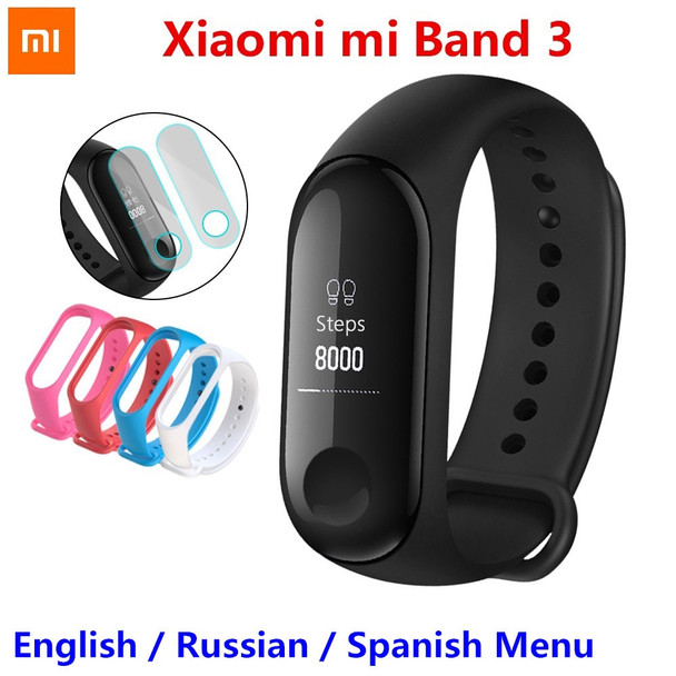 Original Xiaomi Mi Band 3 Smart Wristband Fitness Bracelet MiBand OLED Touch Screen Message Caller ID Heart Rate Time Smart Band