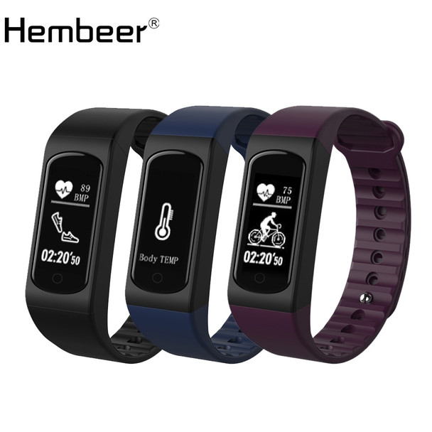 Pulsometer Watches Body Temperature Monitor Heart Rate Monitor Smart Bracelet Sport Pedometer Fitness Tracker for iPhone xiaomi