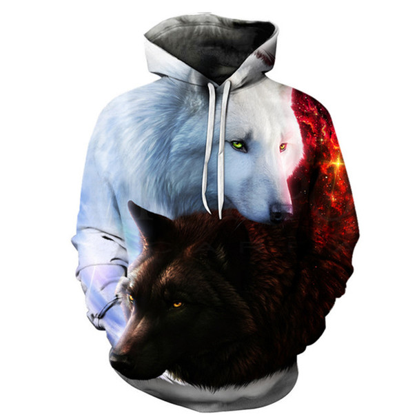 2017 New 3D Print Wolf Men/Women Hoodies Hat Tops Harajuku Pullover Casual Sweatshirts Hoodies Plus Size 6XL