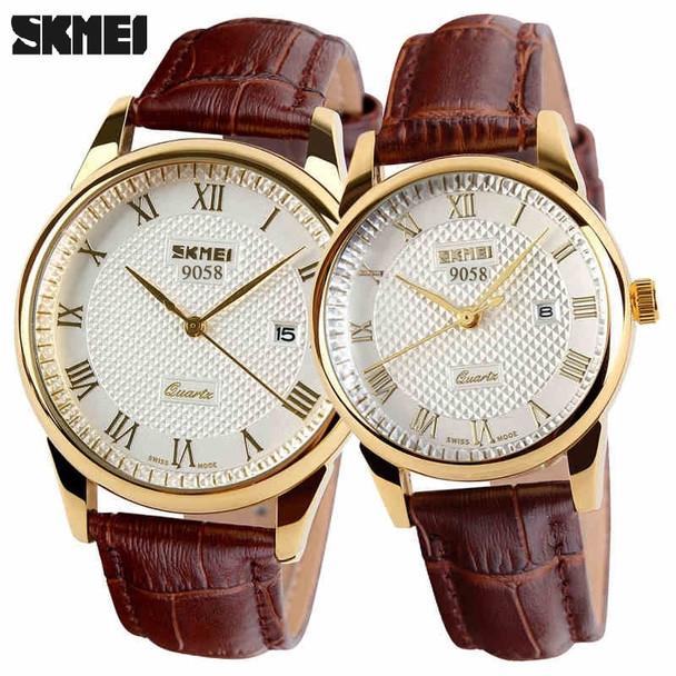2017 SKMEI brand watches men quartz business fashion casual watch full steel date women lover couple 30m waterproof wristwatches