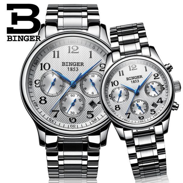 2017 Switzerland watches lover's luxury brand BINGER men and women sapphire Waterproof Mechanical Wristwatches B-603MW