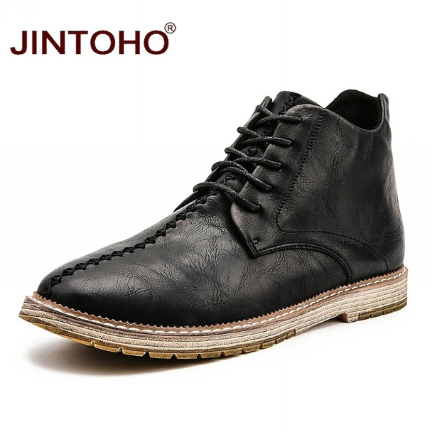 JINTOHO Big Size Men Genuine Leather Boots Fashion Men Winter Genuine Leather Shoes Brand Male Leather Boots Winter Ankle Boots