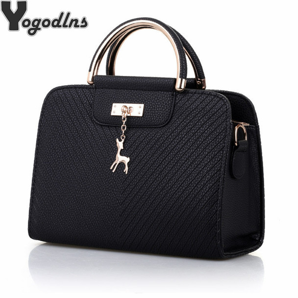 Fashion Handbag 2018 New Women Leather Bag Large Capacity Shoulder Bags Casual Tote Simple Top-handle Hand Bags Deer Decor