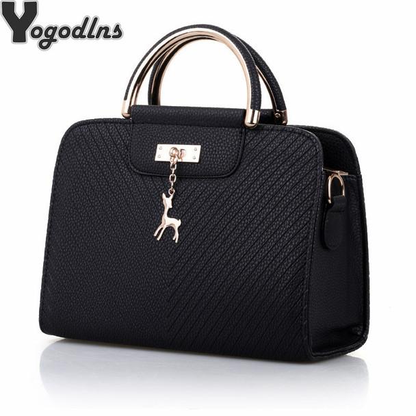 Fashion Handbag 2018 New Women Leather Bag Large Capacity Shoulder Bags Casual Tote Simple Top-handle Hand Bags Deer Decor