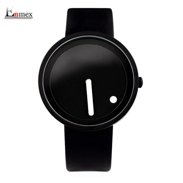 Enmex cool Minimalist style wristwatch Stainless Steel creative design Dot and Line simple stylish quartz fashion watch