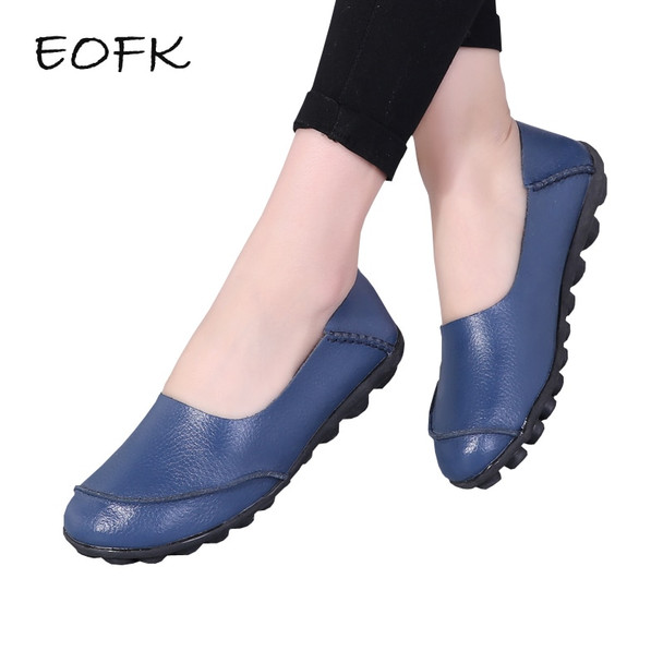 EOFK 2018 Women Genuine Leather Flat Shoes Woman Causal Shoes Soft Comfortable Slip On Flats Loafers Women Casual Shoes Female