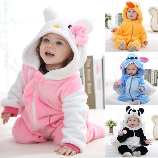 1f9e2b423 Animal baby rompers boys girls kitty Cartoon pink Jumpsuit Pajamas ...