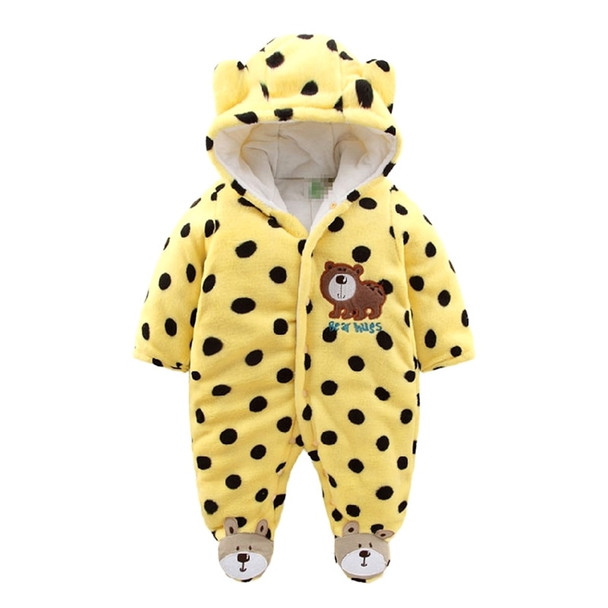 aa8b16110afe Newborn Baby Rompers 2017 Winter Warm Girls Clothing Coral Fleece ...
