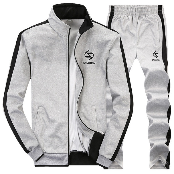 AmberHeard 2017 Fashion Spring Autumn Men Sportswear Set Jacket+Pant Sweatsuit 2 Piece Set Sportswear Tracksuit For Men Clothing