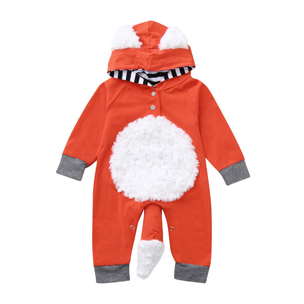 Newborn Infant Kids Girl Boy 3D Cartoon Fox Hooded Romper Jumpsuit Outfits 2018