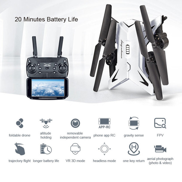 601S 1080P 5MP Quadcopter With Camera Foldable WIFI FPV Drone 20Min Flying 6-axis 4CH RC Helicopter Selfie Drones With Camera HD