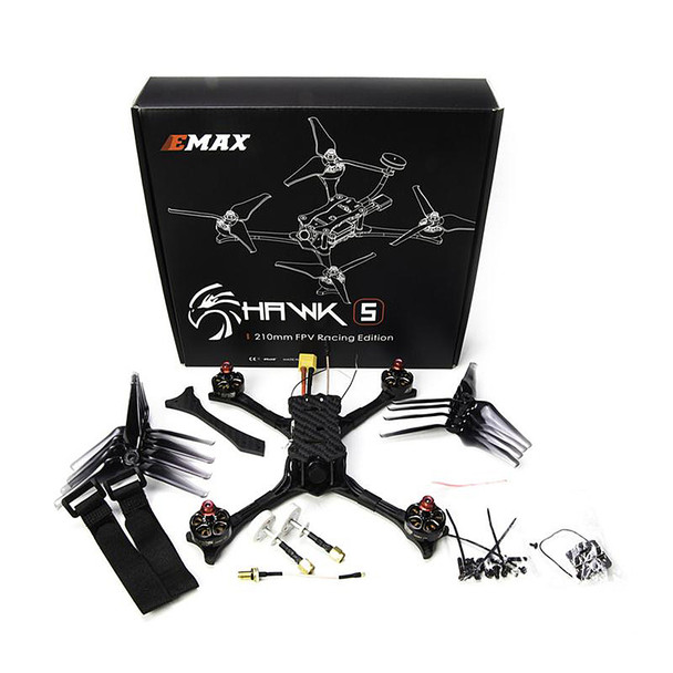2018 New Emax Hawk 5 5.8G 600TVL F4 FC210mm Camera Drone FPV Racing Drone Quadcopter with Frsky Receiver BNF RC Dron E011 X220S