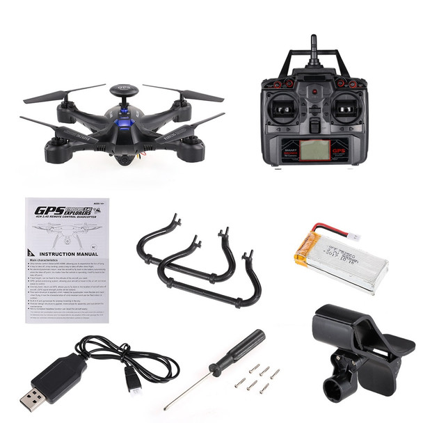 5.8G Drone Selfie X191 2.4G 4CH 2.0MP Drone with Camera HD FPV GPS RTH Height Hold RC Quadcopter Remote Control Helicopter